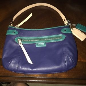 Blue and Green Coach purse.